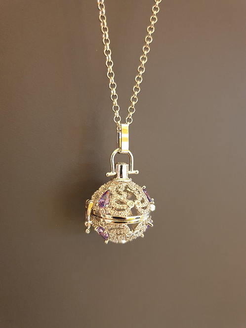 Essential oil Diffuser Locket Necklace (Silver with purple stones)