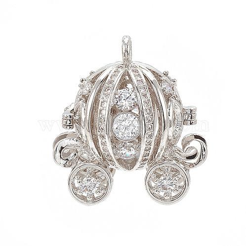 Essential oil Diffuser Locket Necklace Cinderella's Pumpkin Carriage Silver