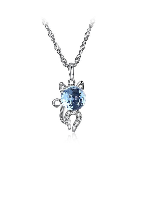 925 Sterling Silver Fashion Cute Little Cat Pendant Necklace with Blue Crystal