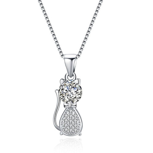 925 Sterling Silver Fashion Cute Little Cat Pendant Necklace