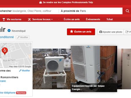 Mise à jour des informations de notre entreprise sur le site de référencement Yelp.fr