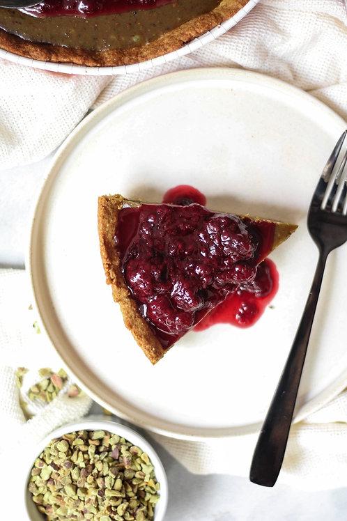 Torta Doce Vegana de Pistache e Frutas Vermelhas (grande)