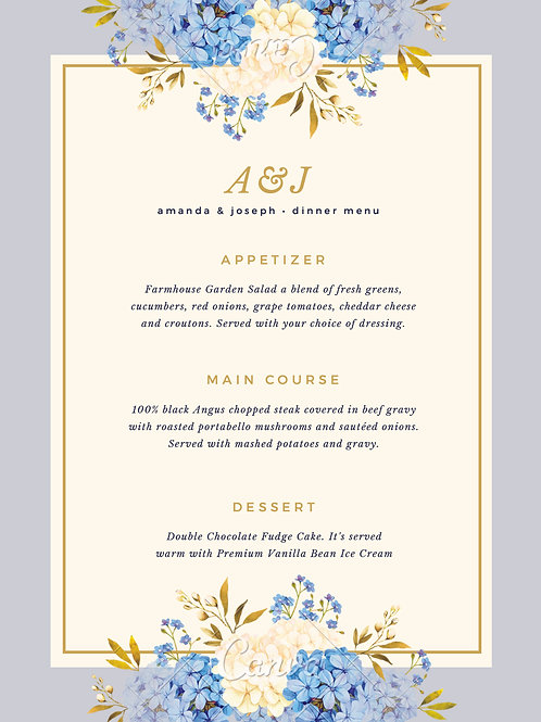 Wedding / Events Menu Design Services