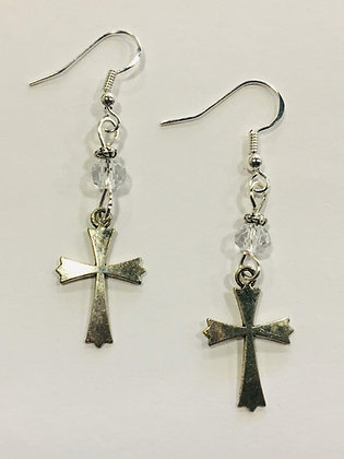 Cross Faith Earrings, pewter cross charms with clear crystal accent beads