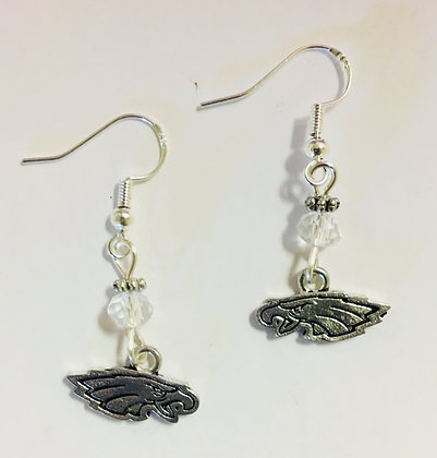 American Eagle Charm Earring, on sterling silver earwires