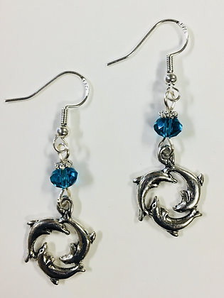 Circle of Dolphin Sealife Earrings, perfect for the beach and marine lover!