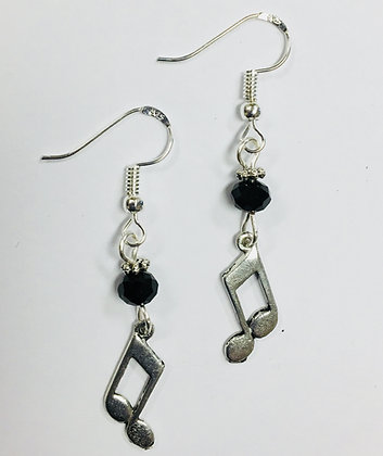 Music Note Charm Earrings with jet crystal faceted accent beads