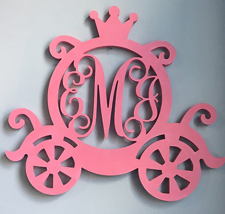 Princess Carriage Cut Out with 3 Letter Monogram