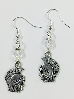 Spartan or Trojan Earrings with clear crystal faceted accent beads, on sterling