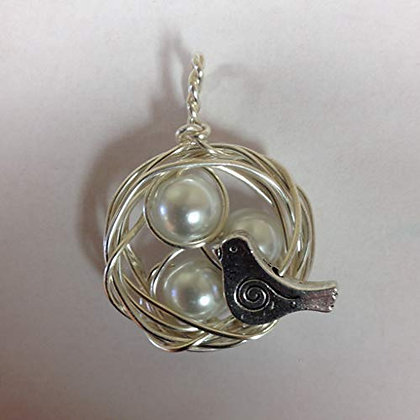 Bird's Nest Pendant (You choose the number of pearls)