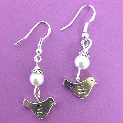Bird Earrings on Sterling Silver Earwires