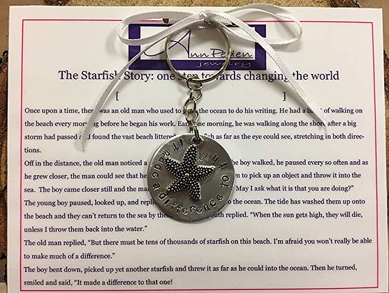 "The Starfish Story ""it made a difference to that one"" Handstamped Keychain"