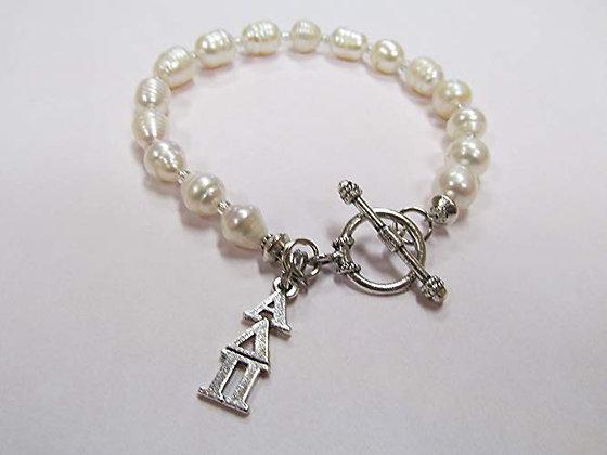 Alpha Delta Pi - Freshwater Pearl Toggle Bracelet