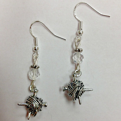 Knitting Needle, Knitters, Knitting or Yarn Earrings, with clear accent beads
