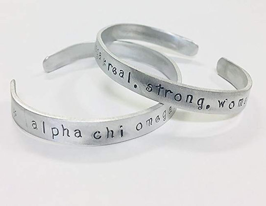 Alpha Chi Omega, Real. Strong. Women. Cuff Bracelet