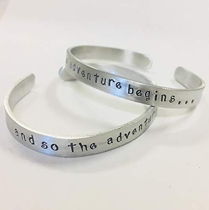 And so the adventure begins - Hand Stamped Quote Bracelet