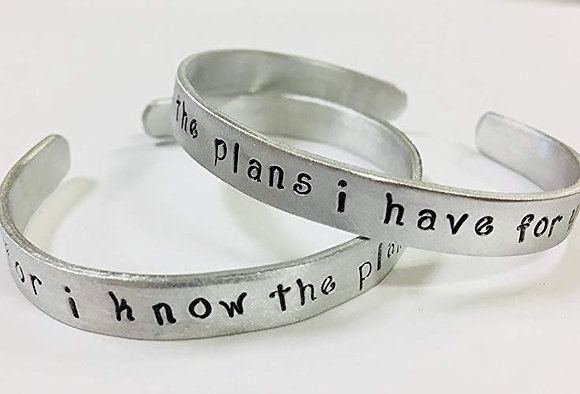 """""""For I know the plans I have for you"""" Jeremiah 29:11-HandStamped Quote Bracelet"""