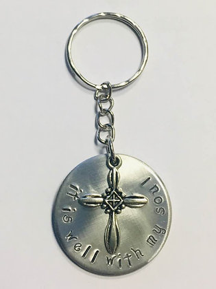 It Is Well With My Soul, Handstamped Keychain-Bethel Haven