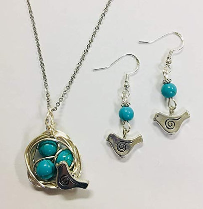 "Robins Nest Pendant & Earring Set w/ 3 Turquoise Eggs & 24"" Stainless Chain"