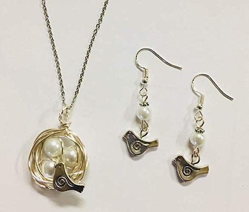 "Bird's Nest Pendant & Earring Set - w/ white glass pearls, 24"" stainless Chain"