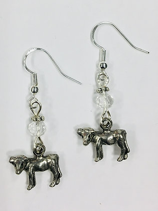 Cow or Calf Silver Charm Earrings, Farm Country Earrings, accented with clear fa