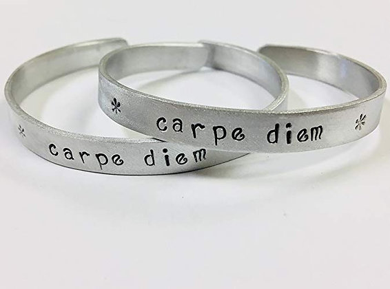 New Year's Resolution Hand Stamped Aluminum Cuff Bracelet