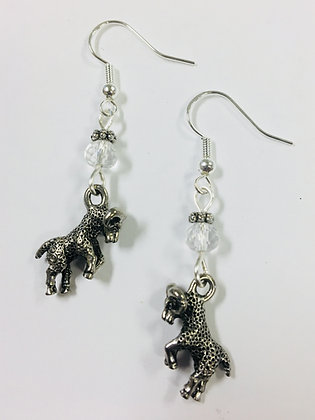 Ram Earrings with clear crystal faceted accent beads, on sterling silver earwire