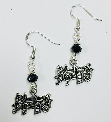 Music Note & Staff Earrings with jet crystal faceted accent beads