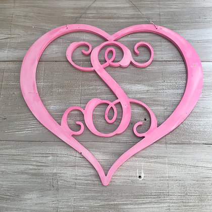 Heart Vine Font Single Initial Wooden Cut Out - Personalize-able
