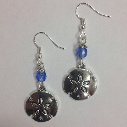 Sand Dollar Beach Theme Nautical Earrings, on sterling silver earwires