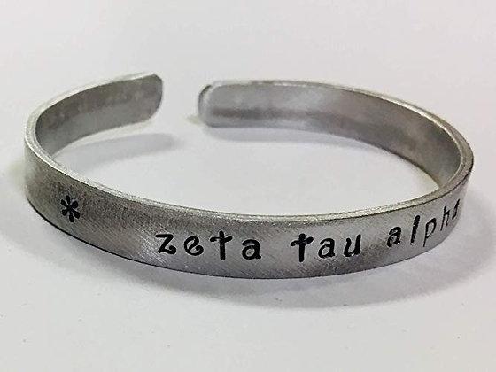 Zeta Tau Alpha - Hand Stamped Cuff Bracelet