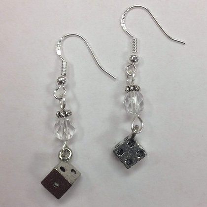 Bunco Dice Earrings, with a clear faceted crystal accent bead on Sterling Silver