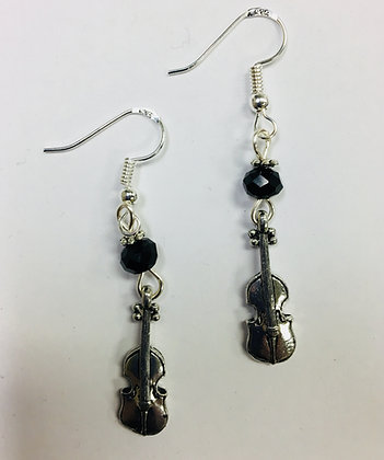 Violin or Violinist Musician Earrings with jet crystal faceted accent beads