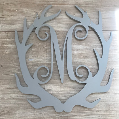 Antlers Vine Font Single Initial Wooden Cut Out