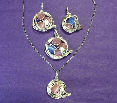 "Pink and Blue Bird's Nest Necklace on 20"" Stainless Steel Chain"