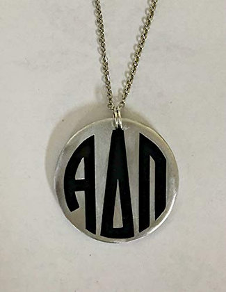 "Alpha Delta Pi - Monogram Necklace on Stainless 24"" Chain"