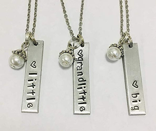 "Big Little Grandlittle Necklace Set with 18"" Stainless Steel Chain"