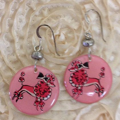 Pink Poodle Earrings on Sterling Silver Earwires