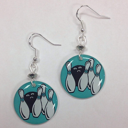Bowling or Bowling Pin and Bowling Ball Earrings, on sterling silver earwires