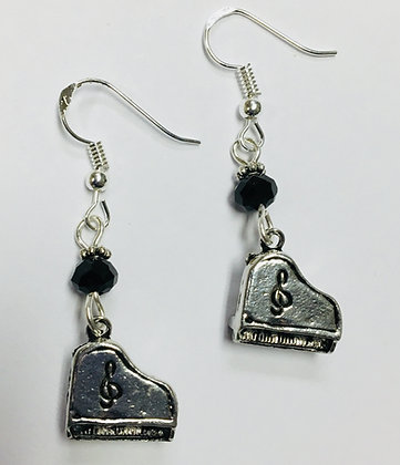 Music Themed Piano Earrings with jet crystal faceted accent beads, on sterling s