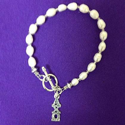Freshwater Pearl Alpha Chi Omega Toggle Bracelet