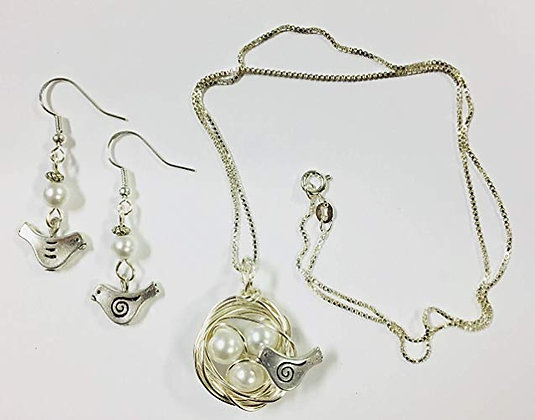 Birds Nest Set - Sterling Silver Chain