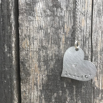 Hand Stamped Heart Pendant With 18 Inch Stainless Steel Chain