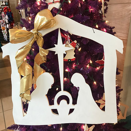 Painted Nativity Scene Wooden Cut Out