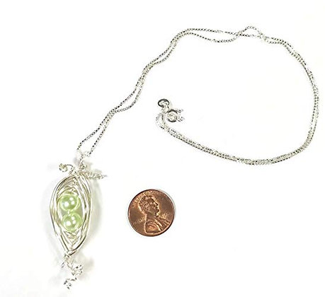 2 Peas in a Pod Necklace - 20 inch Sterling Silver Box Chain