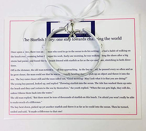 """The Starfish Story""""it made a difference to that one"""" Handstamped Cuff Bracelet-S"""