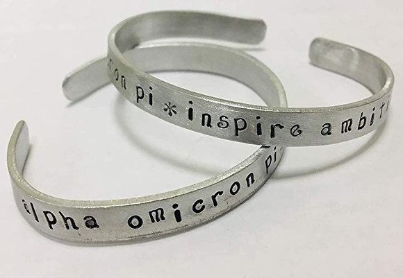 Alpha Omicron Pi / Inspire Ambition Handstamped Cuff Bracelet