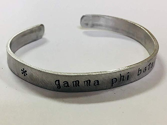Gamma Phi Beta - Hand Stamped Cuff Bracelet