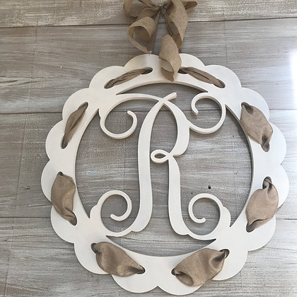 Scalloped Edge Ribbon Vines Font Initial Wooden Cut Out - Personalize with your