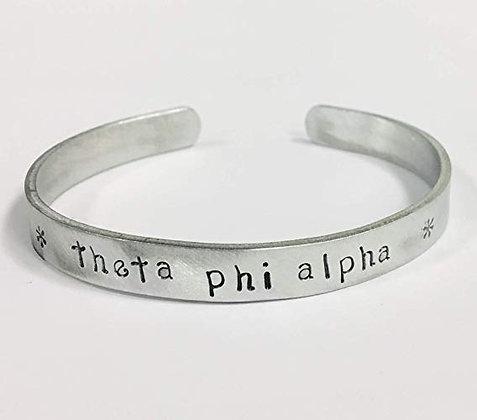 Theta Phi Alpha - Hand Stamped Cuff Bracelet